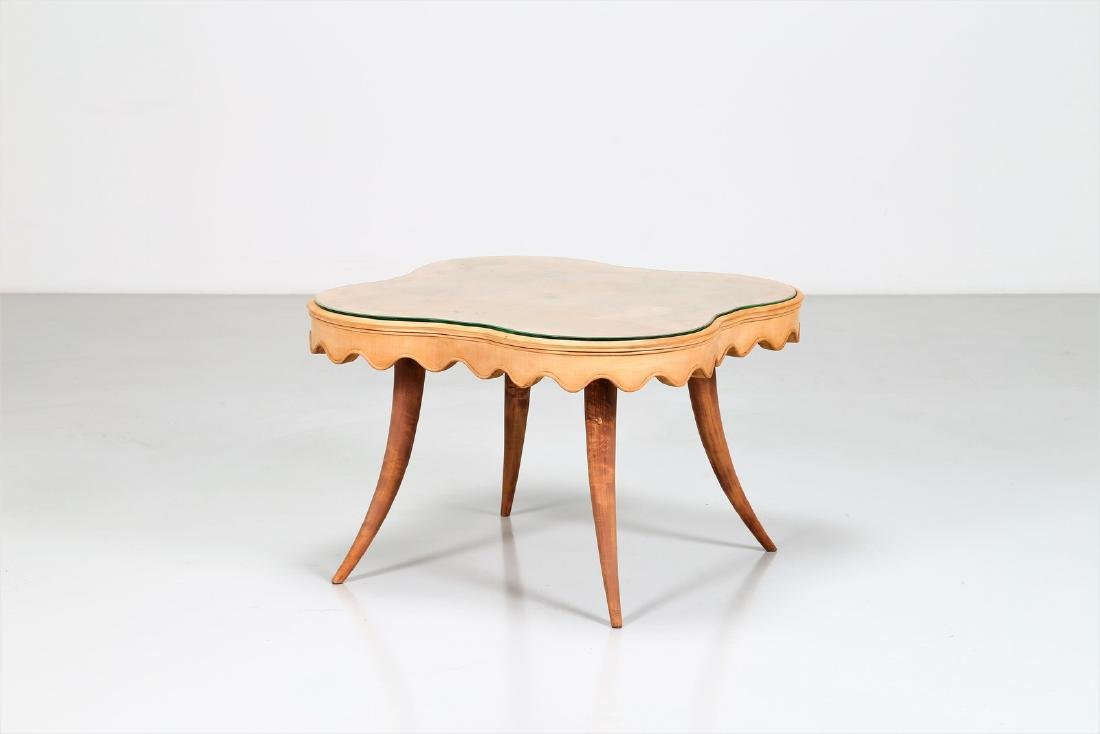 PAOLO BUFFA Maple wood coffee table with glass top,
