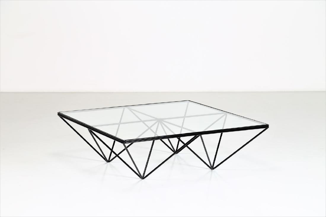 PAOLO PIVA Lacquered metal and glass coffee table by