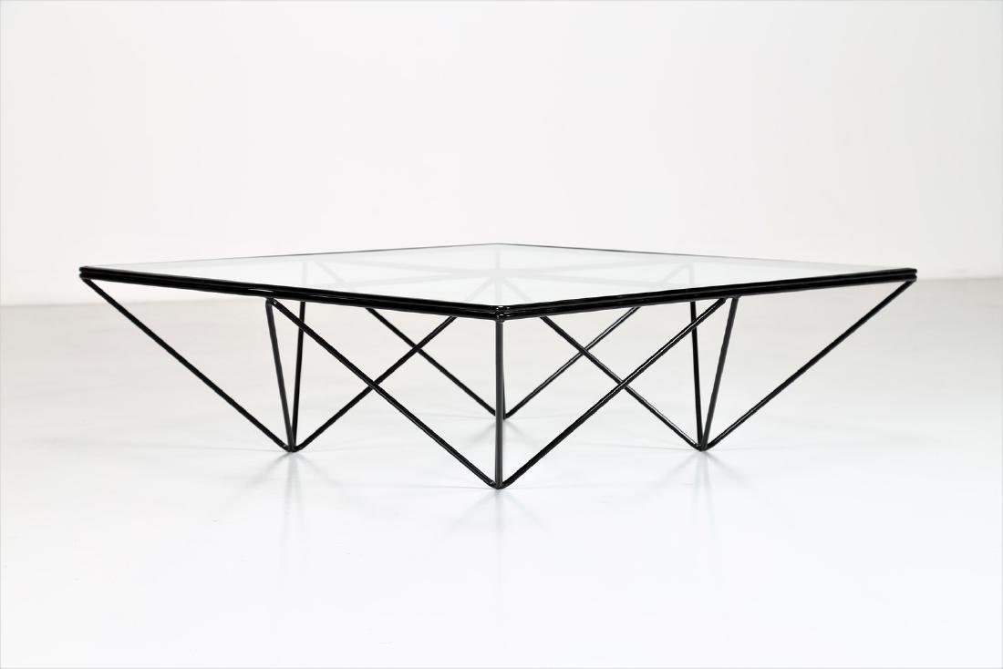 PAOLO PIVA Lacquered metal and glass coffee table by - 4