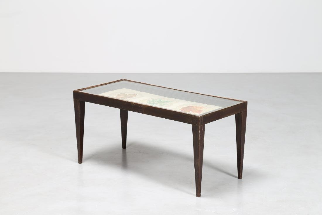 PAOLO BUFFA Distinctive walnut coffee table with glass