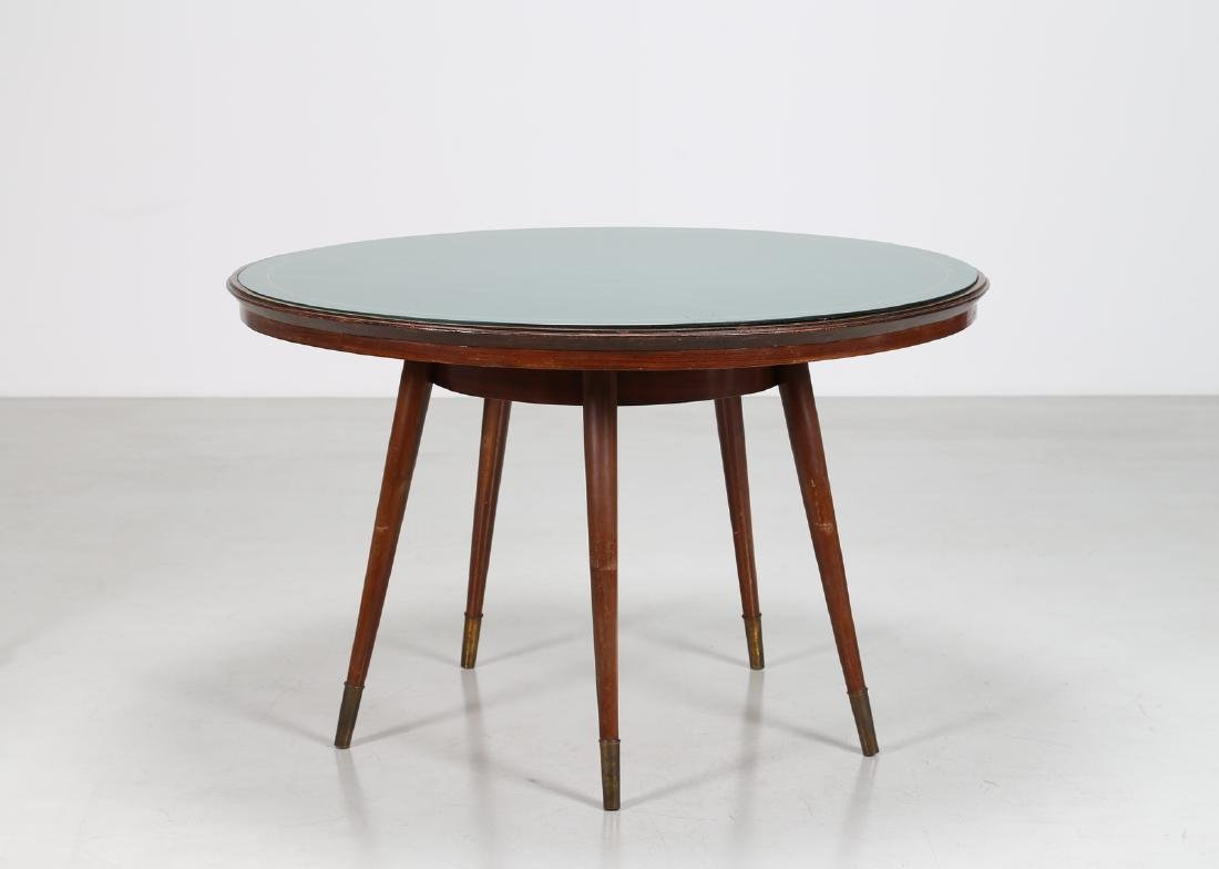 ICO PARISI Distinctive round wooden table with brass