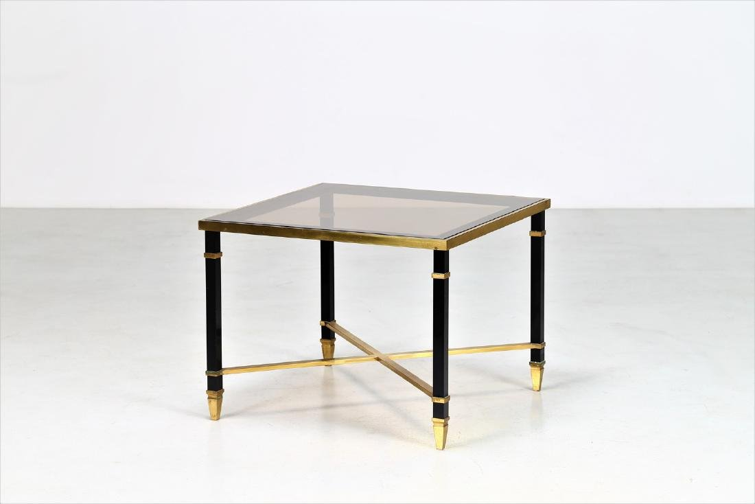 MAISON JANSEN Coffee table in lacquered iron and brass