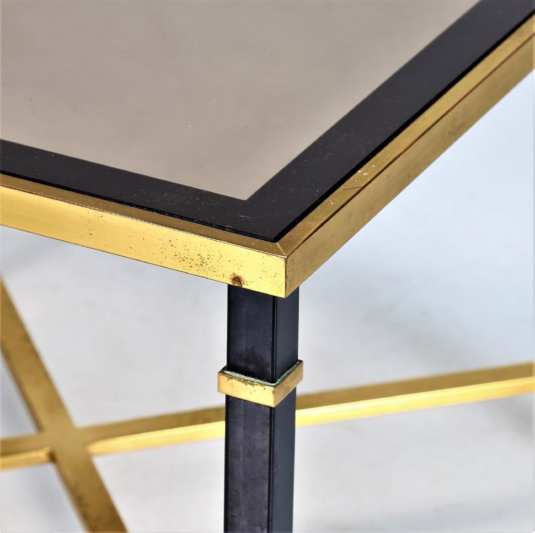MAISON JANSEN Coffee table in lacquered iron and brass - 3