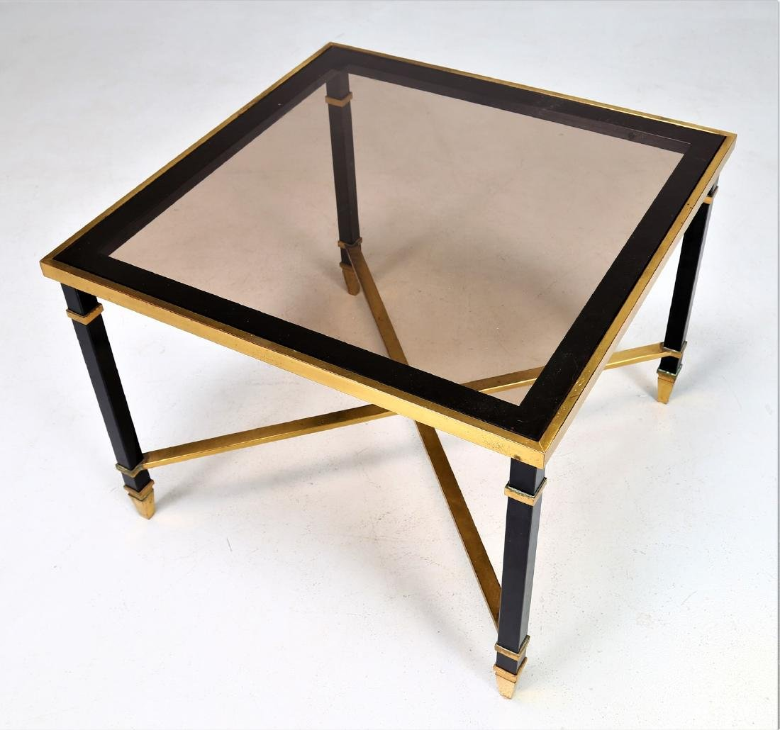 MAISON JANSEN Coffee table in lacquered iron and brass - 4
