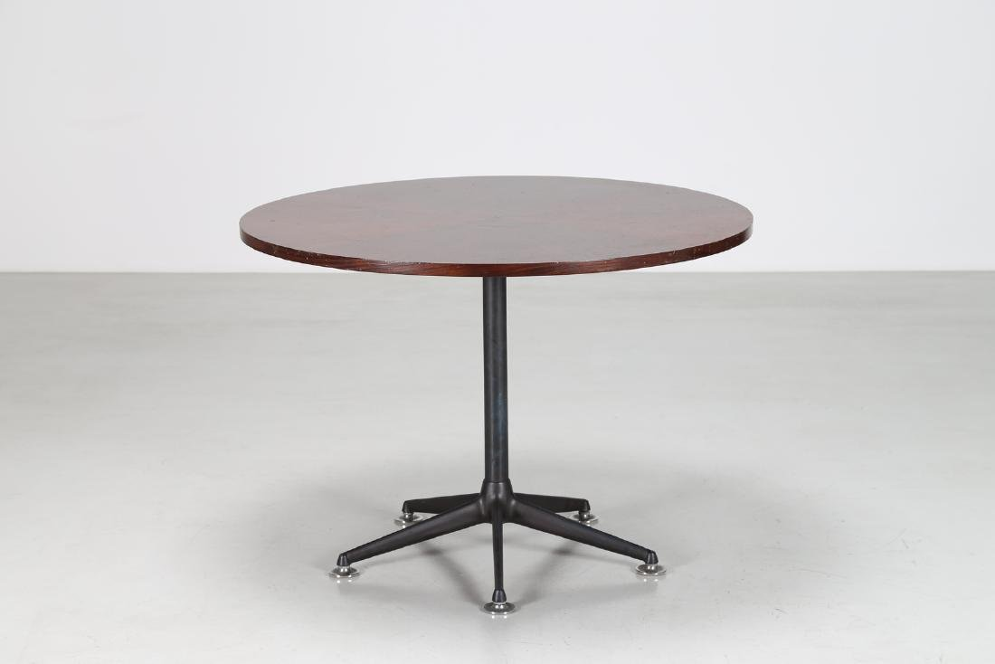 MIM  Round table in rosewood and lacquered metal,