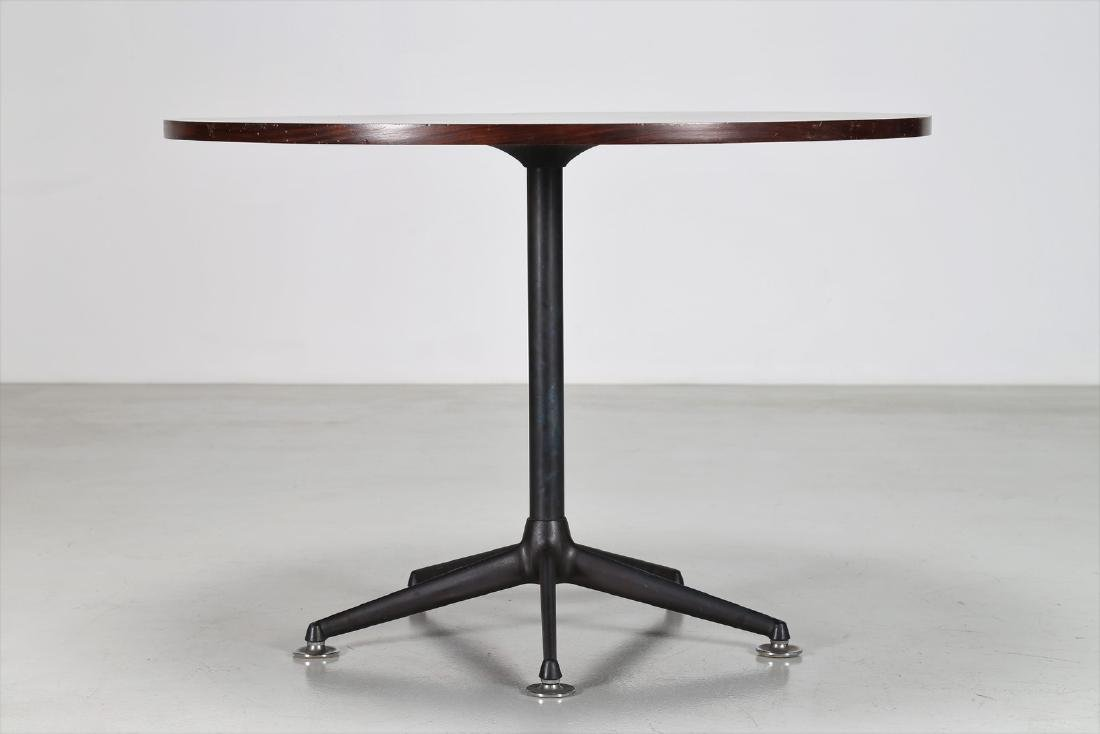 MIM  Round table in rosewood and lacquered metal, - 2