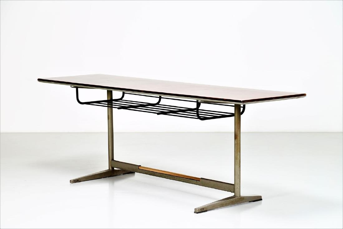 GIO' PONTI Wood table with tubular steel frame, USC 636