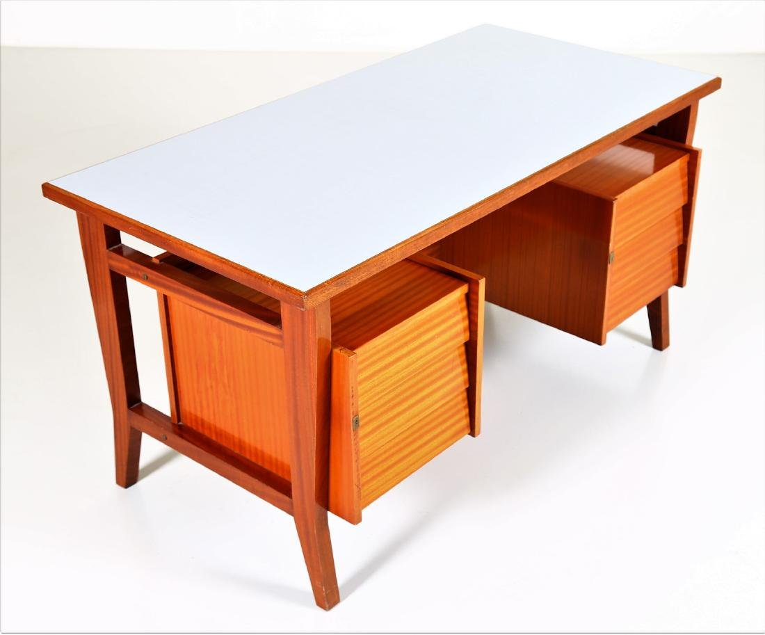 GIO' PONTI Mahogany desk with Formica top by Schirolli, - 4