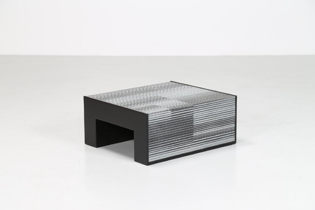 GETULIO ALVIANI Wood little table covered by aluminum,