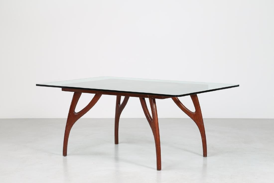 ADRIAN  PEARSALL Distinctive mahogany table with glass