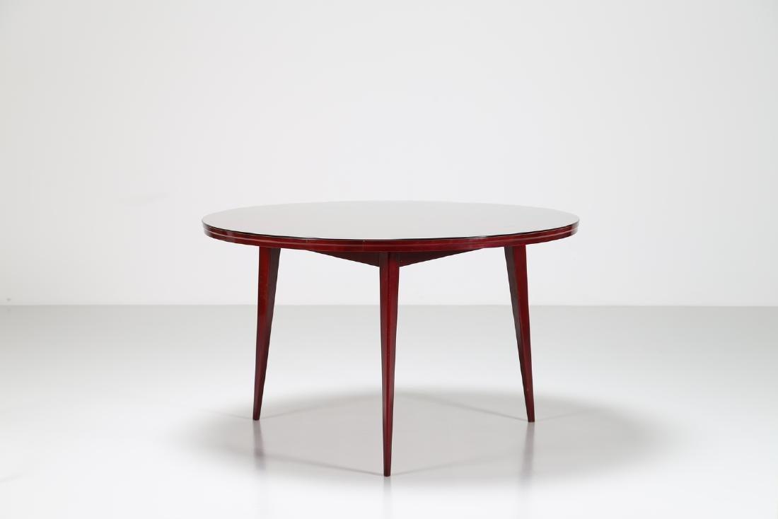SILVIO CAVATORTA Mahogany table with glass top by