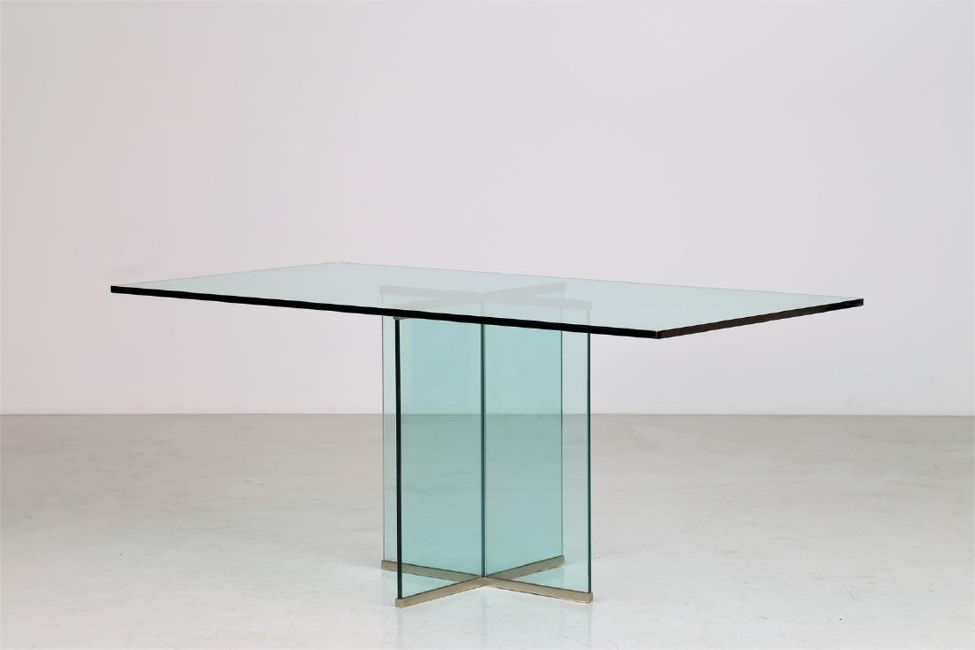 GALLOTTI E RADICE  Glass table with brass trim, 1970s.