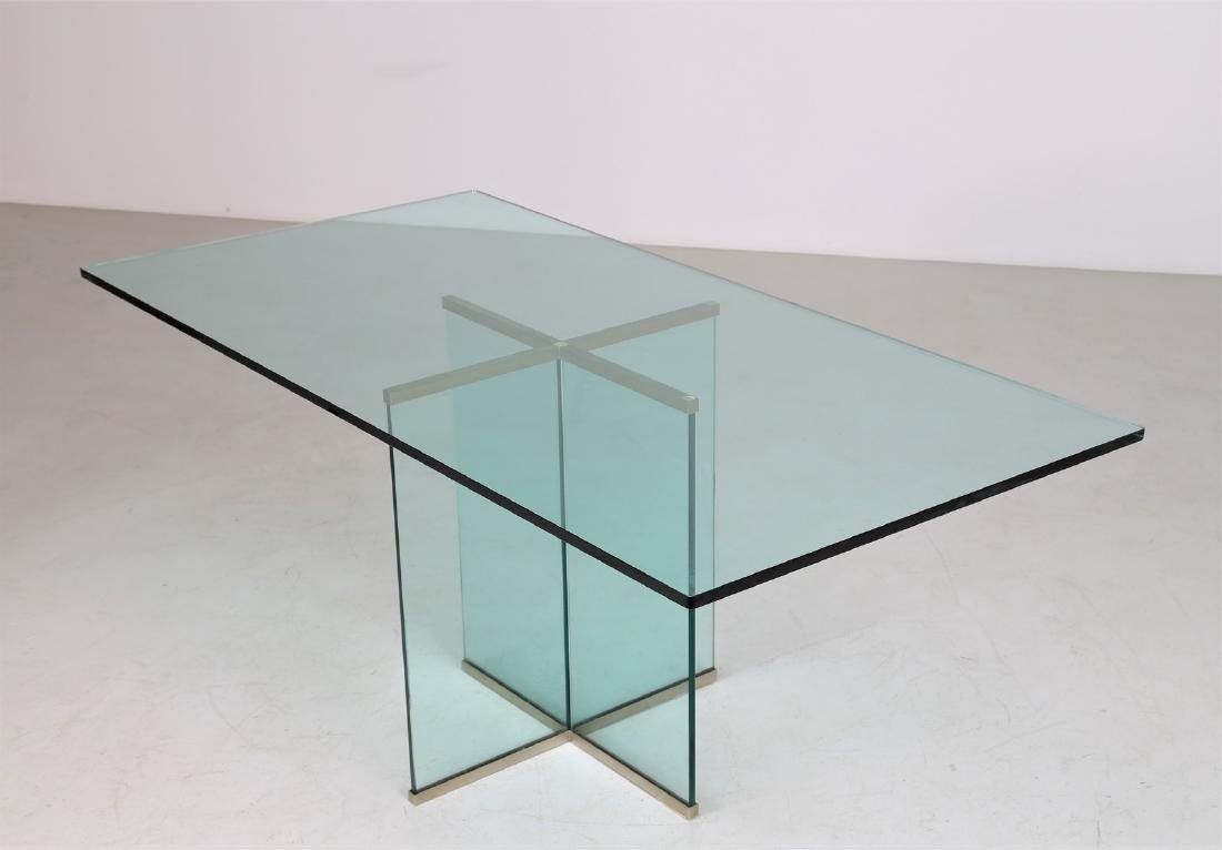 GALLOTTI E RADICE  Glass table with brass trim, 1970s. - 2