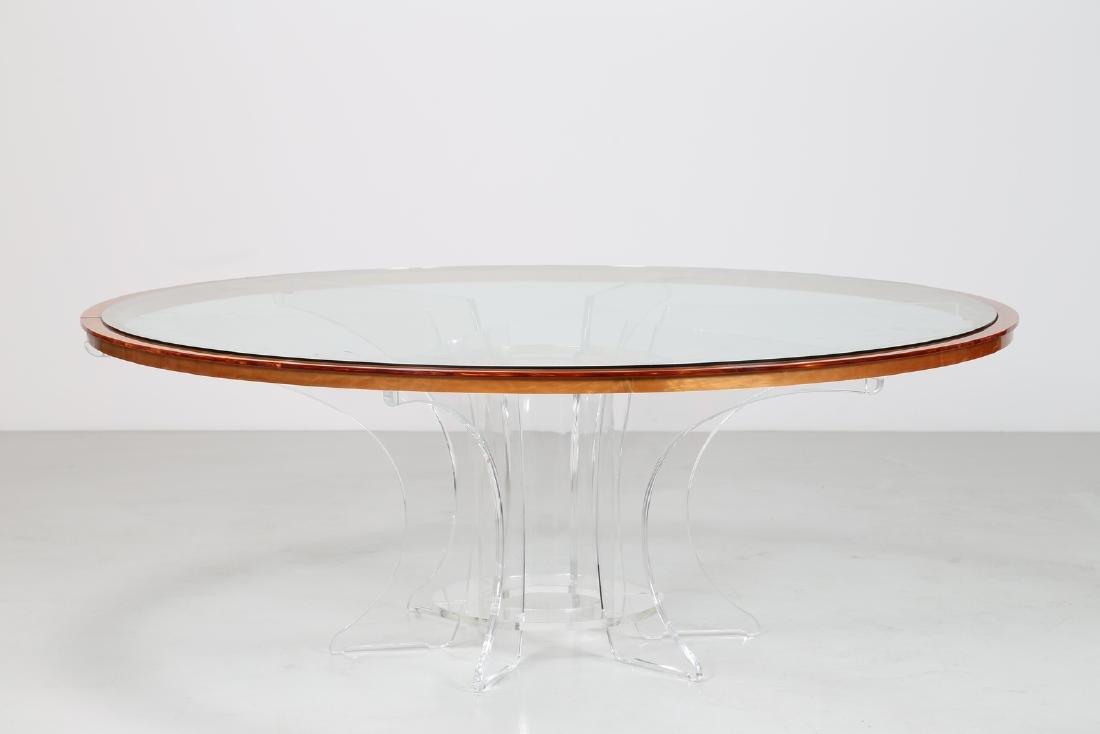 LUCIANO  DI PILLA Round plexiglass table with glass top