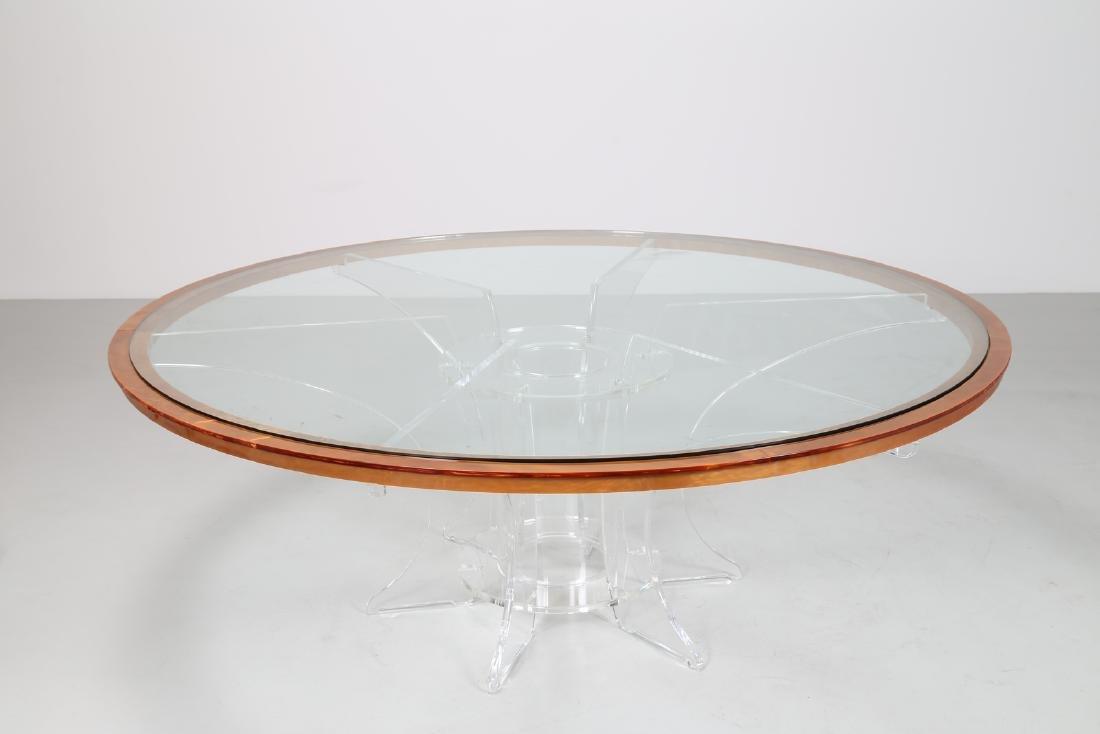 LUCIANO  DI PILLA Round plexiglass table with glass top - 2