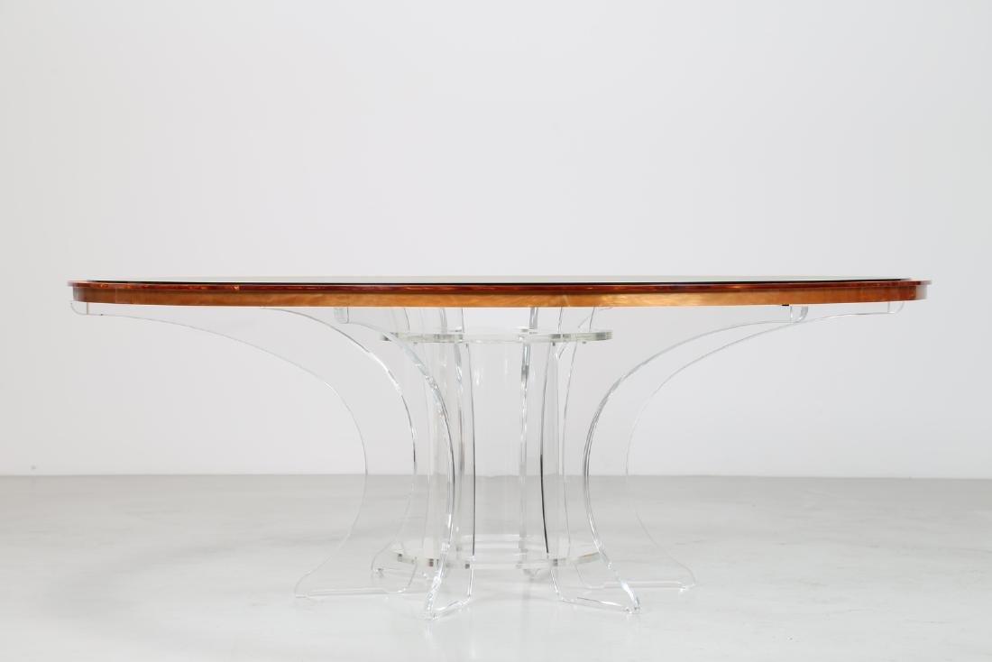 LUCIANO  DI PILLA Round plexiglass table with glass top - 3