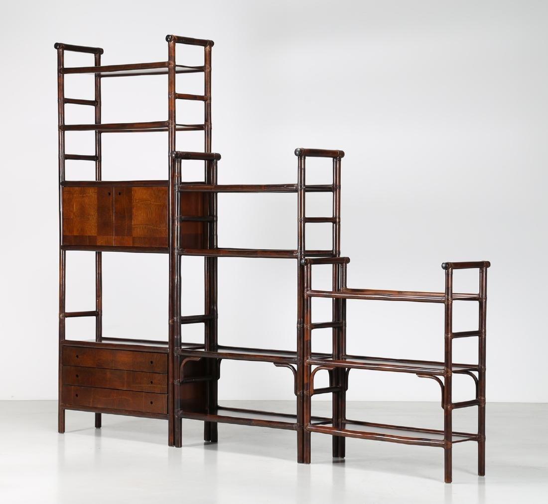 BONACINA 1889 Three bamboo bookcases, 1970s.