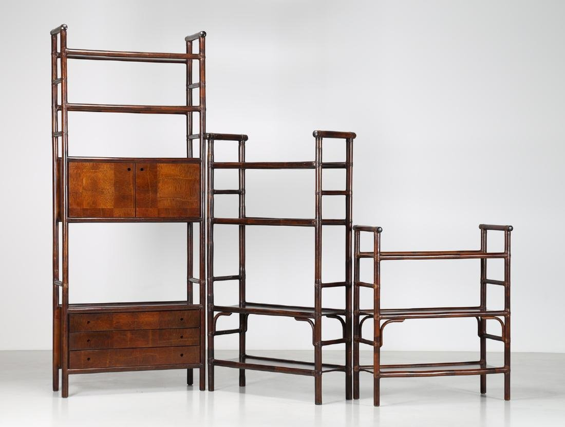 BONACINA 1889 Three bamboo bookcases, 1970s. - 2