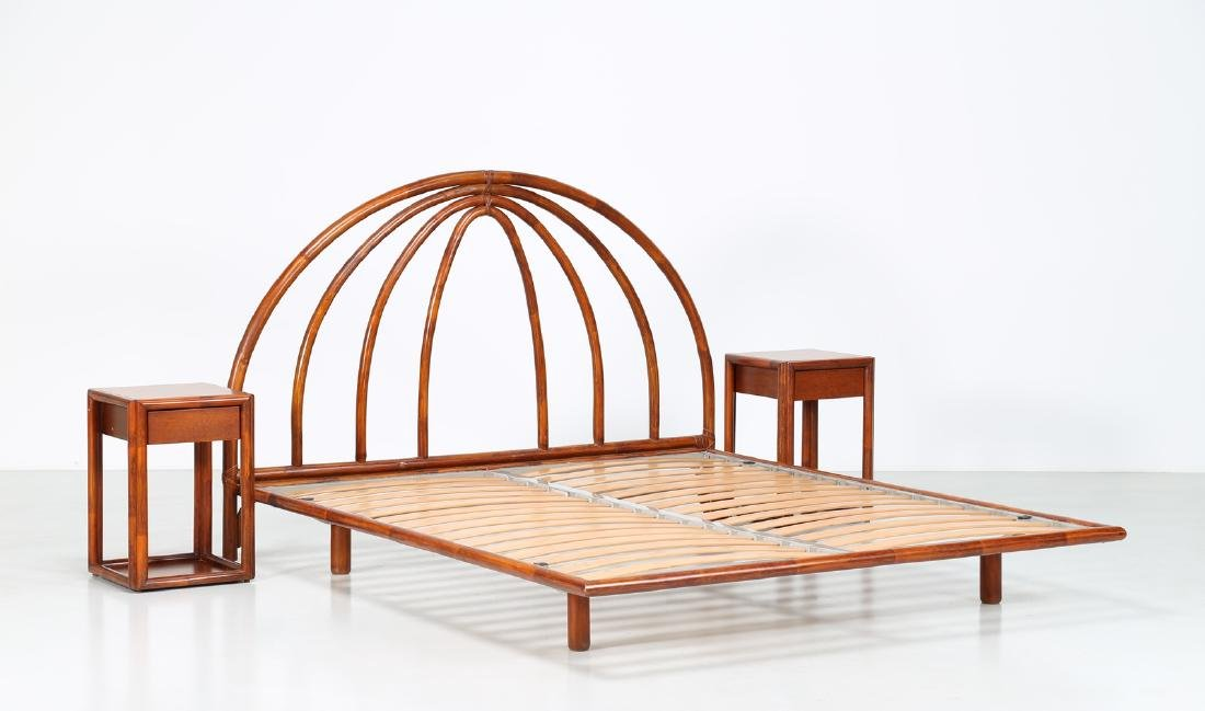 BONACINA 1889 Bamboo bed frame and two bedside tables.