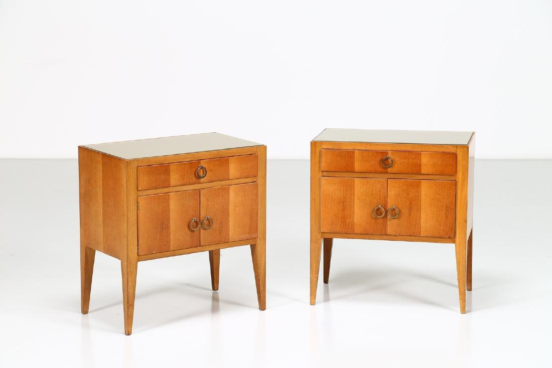 MANIFATTURA ITALIANA  Pair of wood and brass bedside