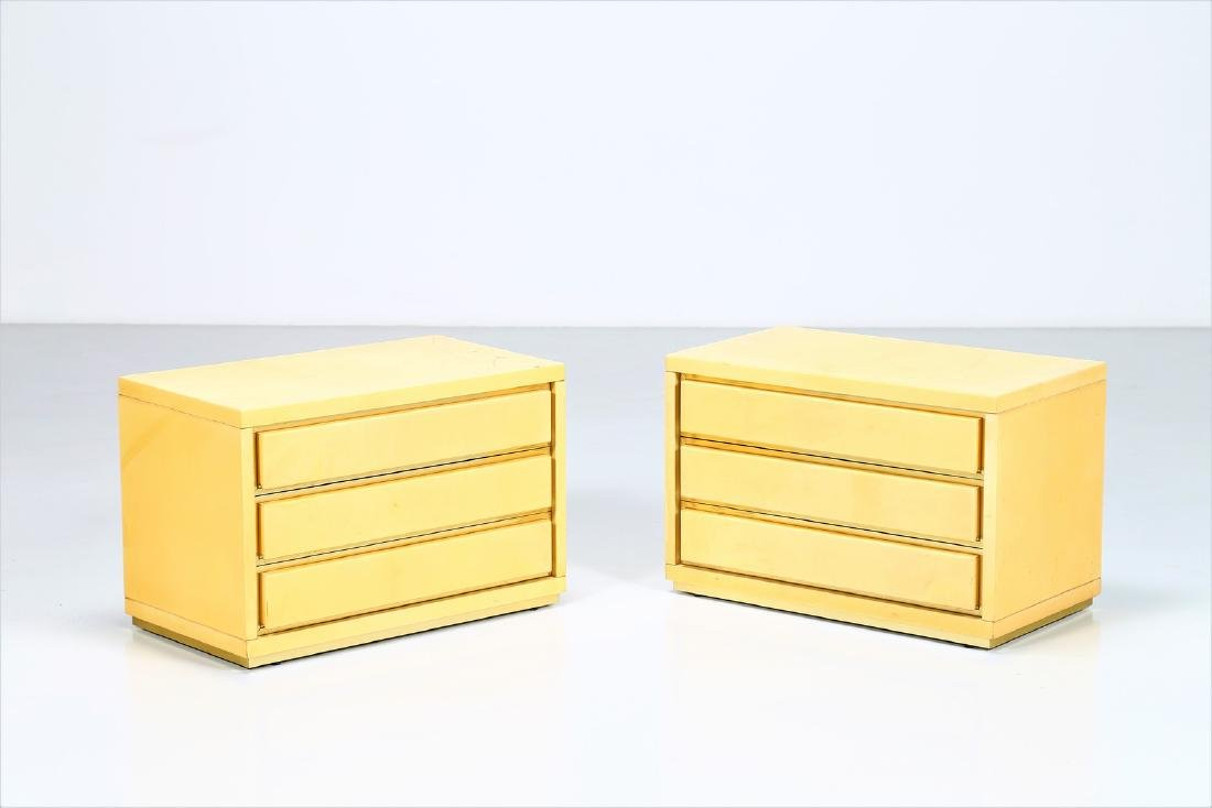 ALDO TURA Two wood and parchment chests of drawers,