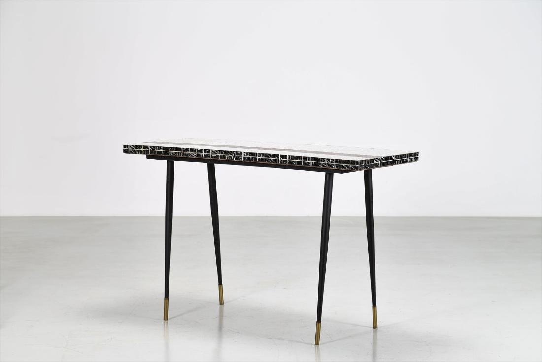 MANIFATTURA ITALIANA  Metal console table with ceramic