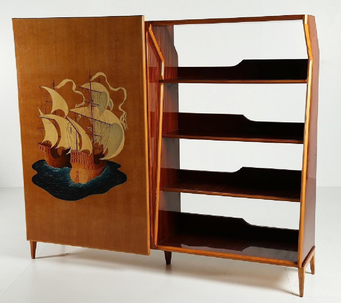 FLORIT Hall cupboard in inlaid wood, 1950s.