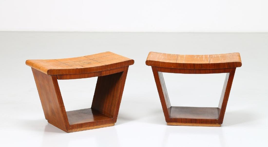 OSVALDO BORSANI Pair of inlaid wood stools, 1950s.