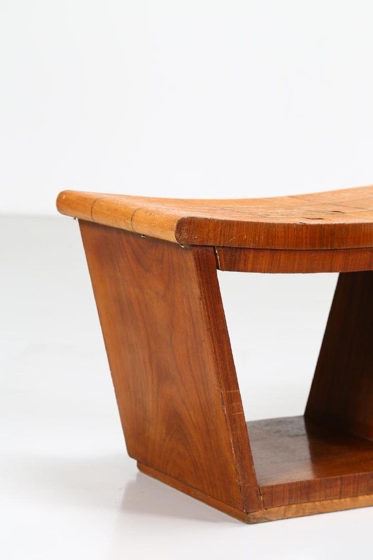 OSVALDO BORSANI Pair of inlaid wood stools, 1950s. - 2