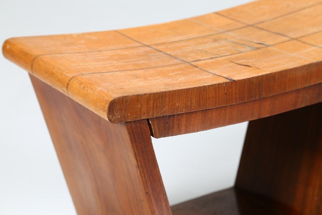 OSVALDO BORSANI Pair of inlaid wood stools, 1950s. - 3