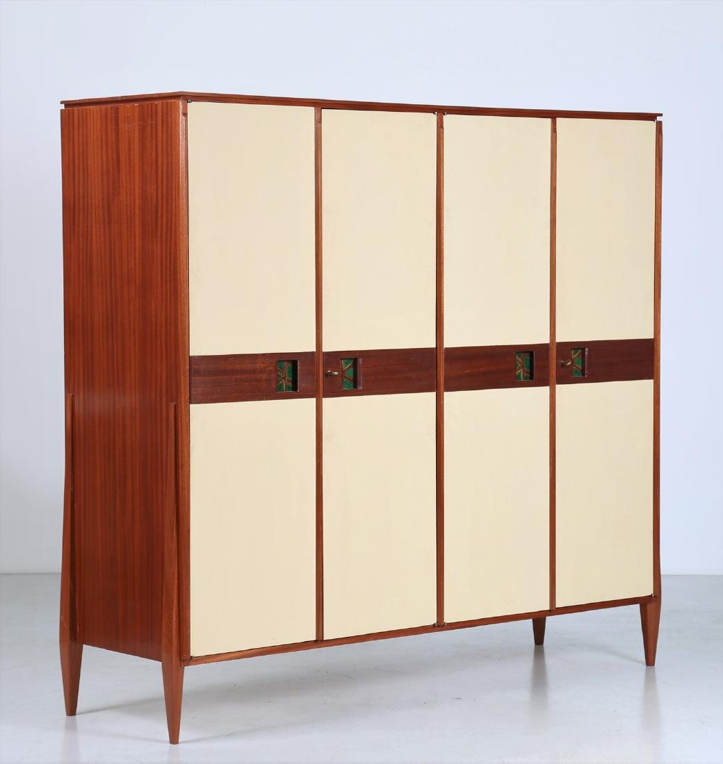 CASEY FANTIN  Mahogany and lacquered wood wardrobe,