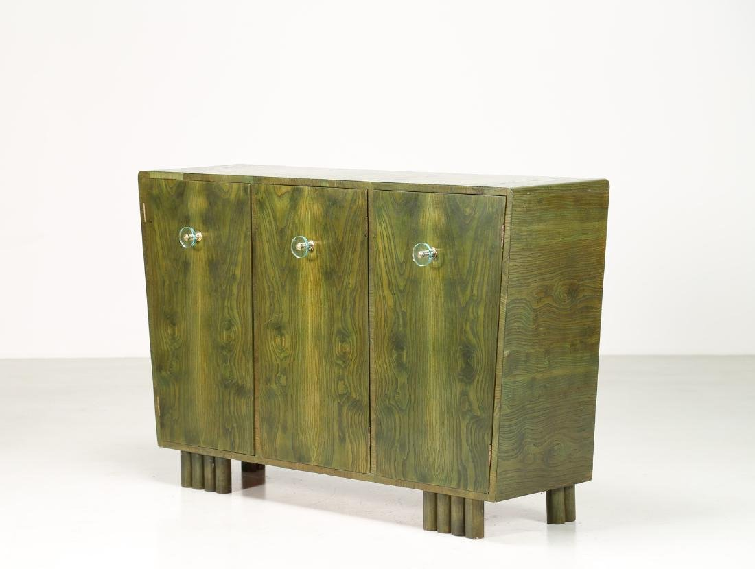MANIFATTURA ITALIANA  Sideboard in green-stained ash