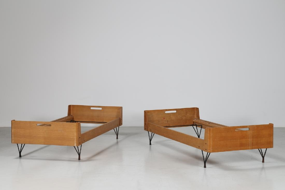 RIMA  Twin beds in bent teak plywood and iron, limited