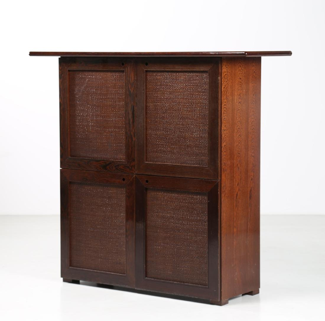 BONACINA 1889 Four-door cabinet in wenge and wicker.