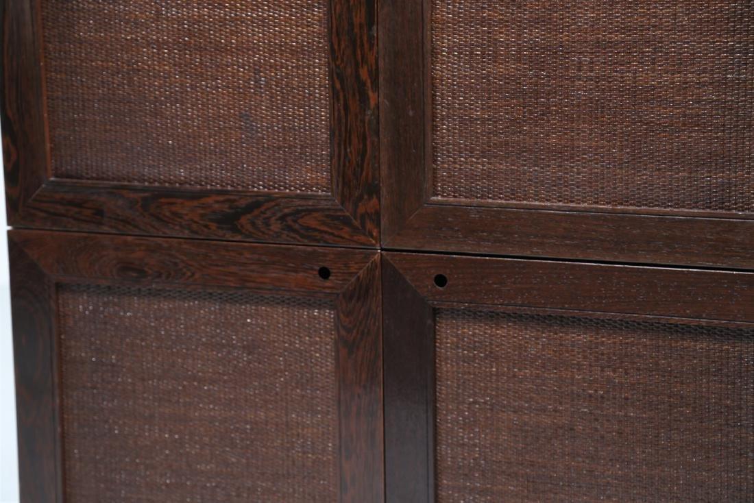 BONACINA 1889 Four-door cabinet in wenge and wicker. - 2