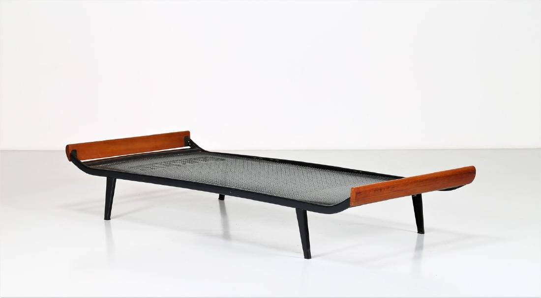 DICK  CORDEMEIJER Wood and lacquered metal bed by