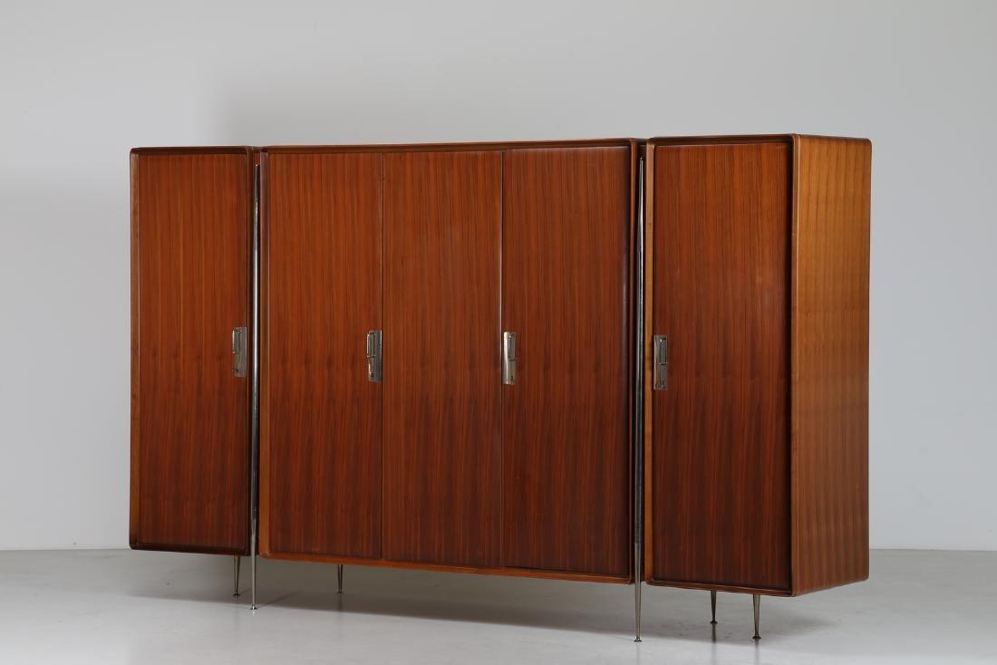 SILVIO CAVATORTA Five-door wooden wardrobe with mirrors;