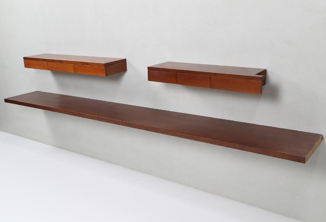 ANGELO MANGIAROTTI Console shelf and two suspended