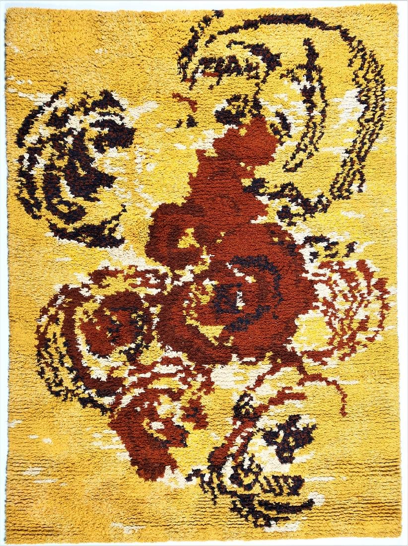 RENATA BONFANTI Distinctive wool rug, 1960s.