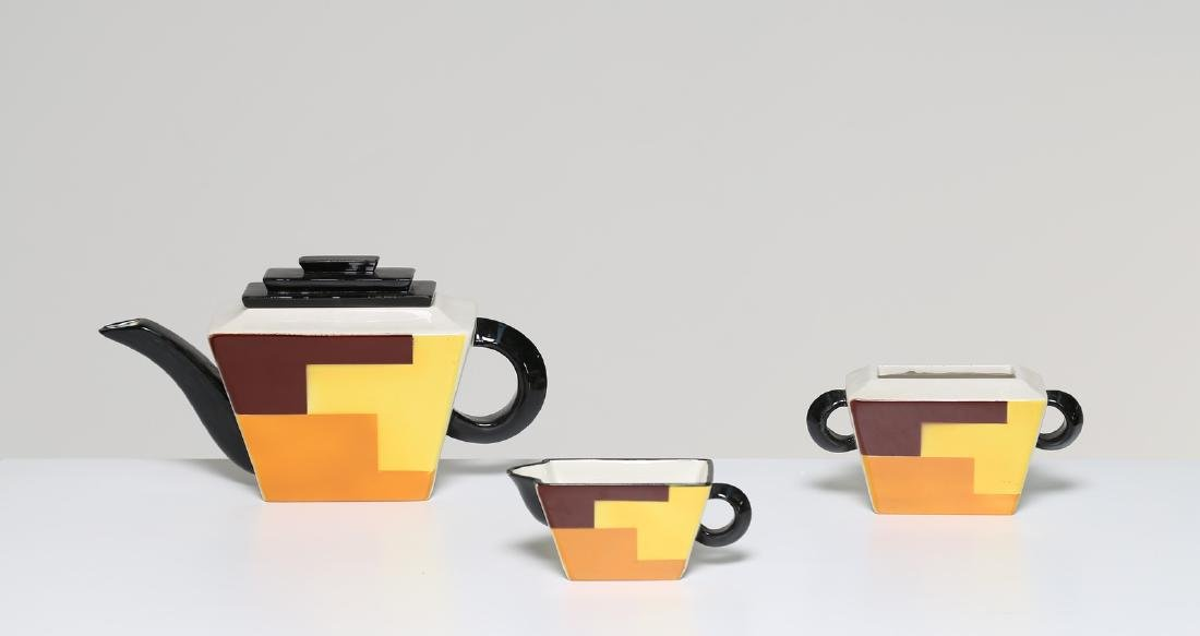 ANDREA GALVANI Three-piece ceramic coffee set, 1930s.