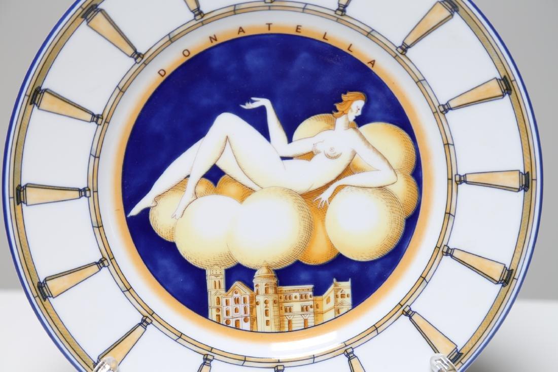 GIO' PONTI Decorated majolica dish, woman on clouds, - 2