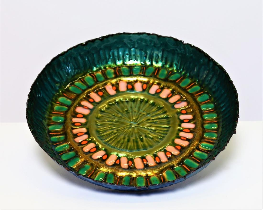 LAURANA Plate in embossed and enamelled copper, 1960s.