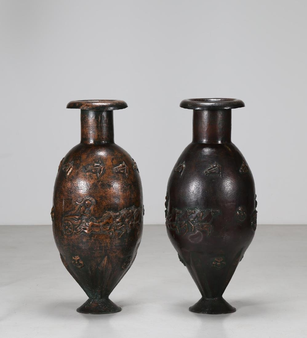 ANGELO BRAGALINI Distinctive pair of large vases,