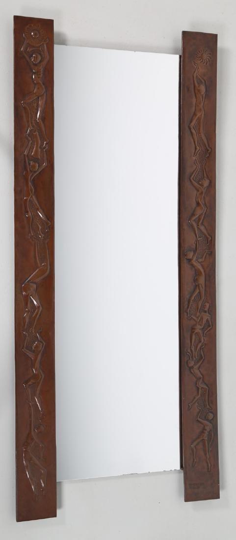 MARCHETTI PESARO Mirror in beaten and sculpted copper,