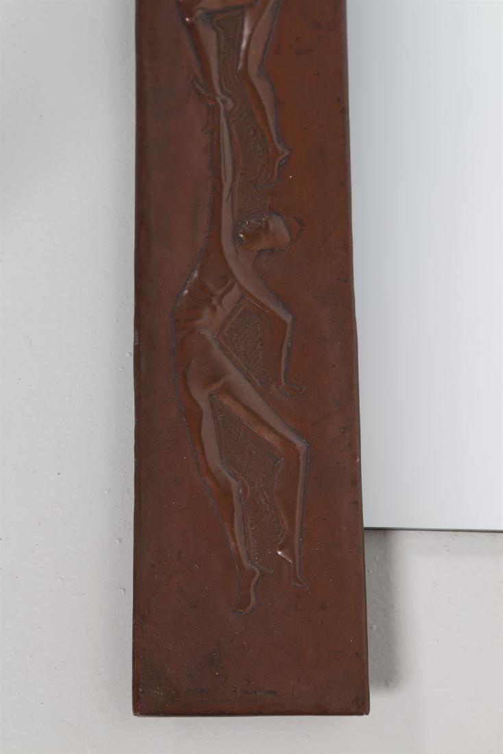 MARCHETTI PESARO Mirror in beaten and sculpted copper, - 2