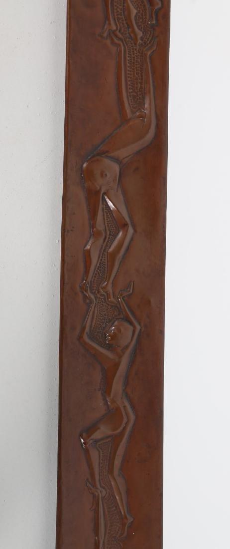 MARCHETTI PESARO Mirror in beaten and sculpted copper, - 3