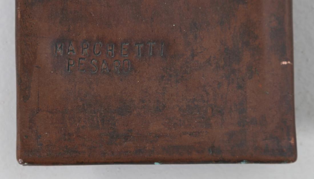 MARCHETTI PESARO Mirror in beaten and sculpted copper, - 4