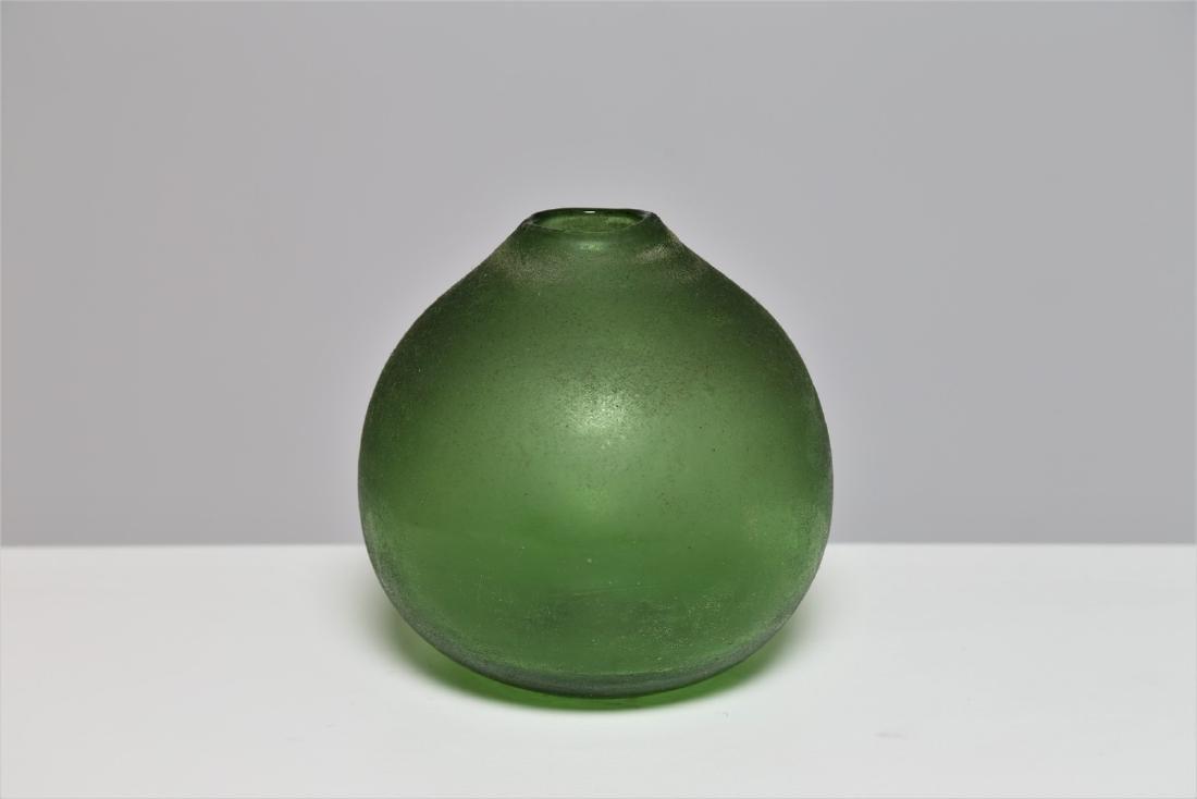 MANIFATTURA MURANO Small green glass vase, scavo
