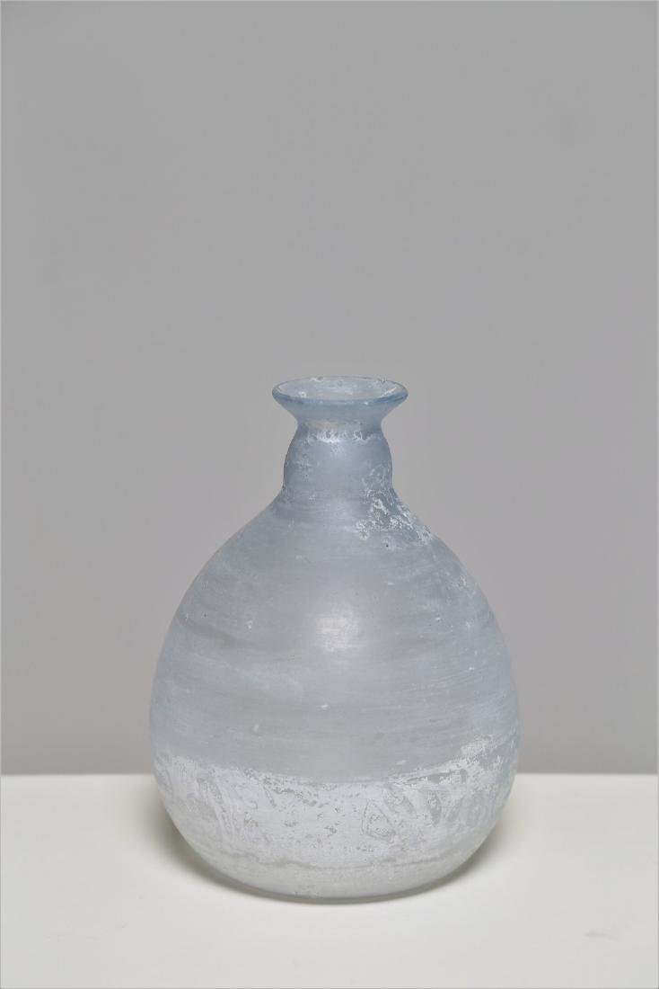 MANIFATTURA MURANO Small white glass vase, scavo