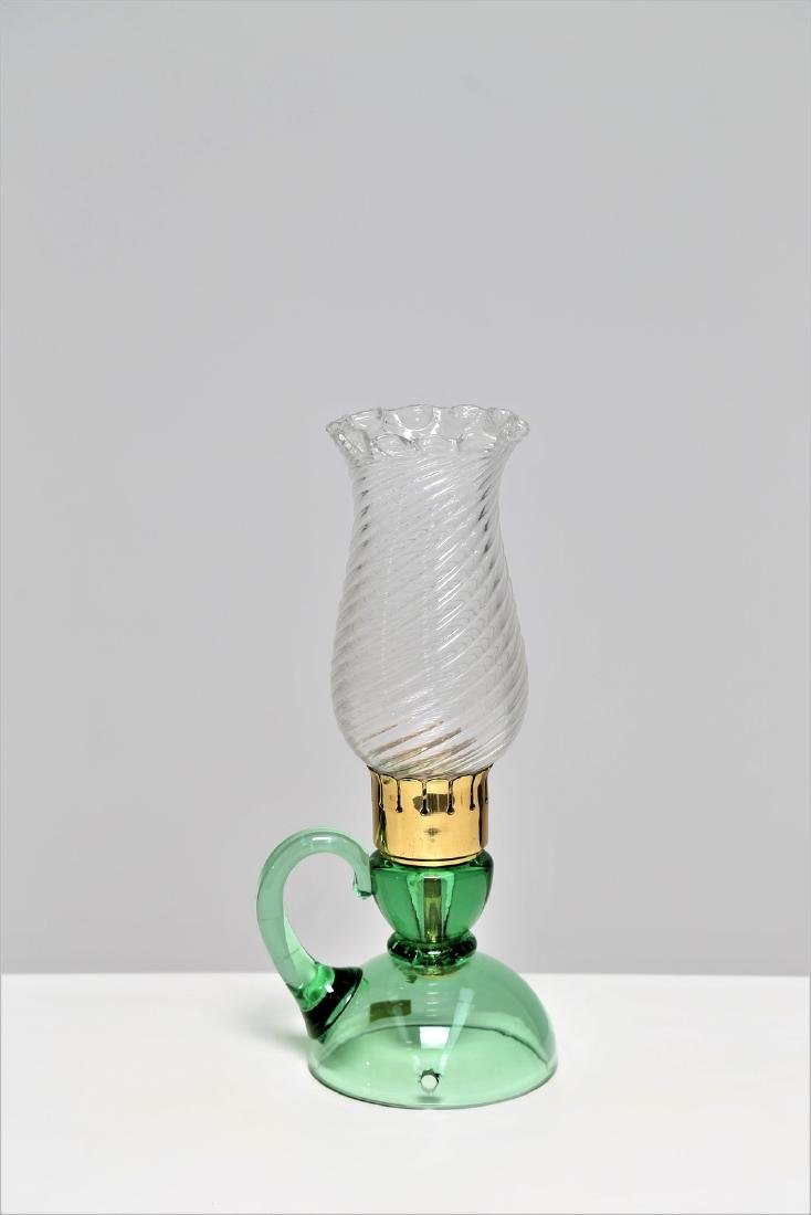 BAROVIER & TOSO  Lamp in brass and green glass, 1950s.